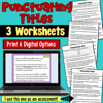 Punctuating Titles Worksheets by Deb Hanson Teachers Pay Teachers