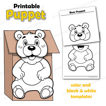 Puppet Bear Craft Activity Printable Paper Bag Puppet Template