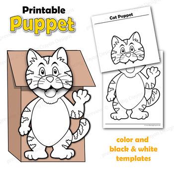 Puppet Cat Craft Activity Printable Paper Bag Puppet Template TpT