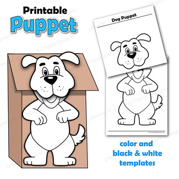 Puppet Dog Craft Printable Paper Bag Puppet Template TpT