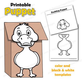 Puppet Duck Craft Activity Printable Paper Bag Puppet TpT