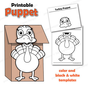 Puppet Turkey Craft Activity Printable Paper Bag Puppet Template