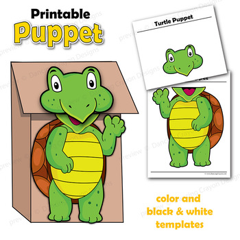 Puppet Turtle Craft Activity Printable Paper Bag Puppet Template