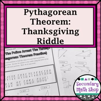 Right Triangles - Pythagorean Theorem Thanksgiving Riddle Worksheet - pythagorean theorem worksheet