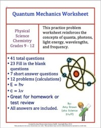 Quantum Mechanics Worksheet / Review by Amy Brown Science ...