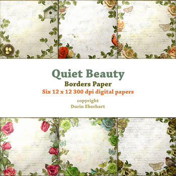 Quiet Beauty Borders Printable Digital Paper by Durin Eberhart TpT