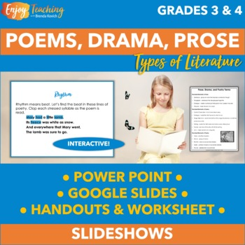 Poetry, Prose, and Drama PowerPoint - Third and Fourth Grade by - poetry powerpoint