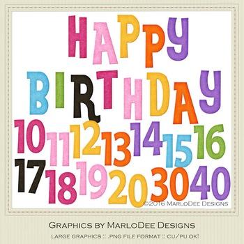 Rainbow Colors 1 Happy Birthday Word Art  Birthday Number Graphics