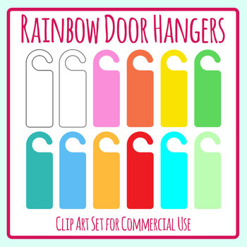 Rainbow Door Hanger Templates Clip Art Set Commercial Use by