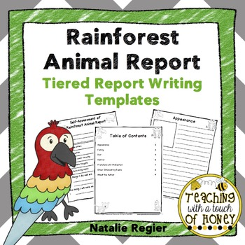 Rainforest Animal Research Project - Report Writing Templates TpT