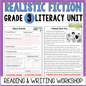 Realistic Fiction Reading  Writing Unit Grade 340 Lessons with
