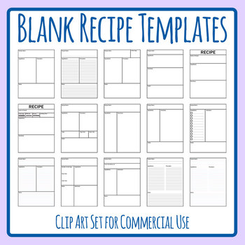 Recipe Templates Clip Art Set for Commercial Use by Hidesy\u0027s Clipart