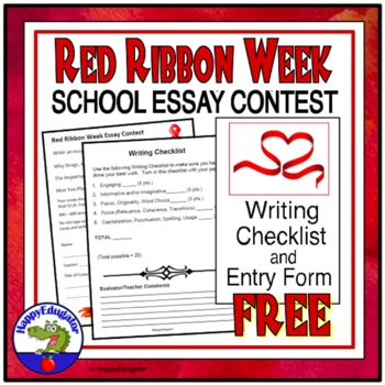 FREE Red Ribbon Week Activity - Essay Contest Entry Form and Writing
