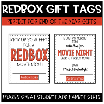 Redbox Gift Certificate Tags (Editable with 3 Styles) TpT