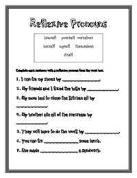 Reflexive Pronouns - 2nd Grade Common Core by Heather West ...