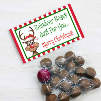 Reindeer Noses Bag Toppers for Christmas Parties, Holiday Treat Bags