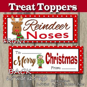 Reindeer Noses Treat Topper Christmas DIY Printable- Snack Baggie