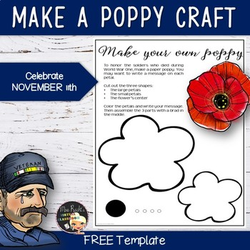 Remembrance Day Free Poppy Template by Mrs Recht\u0027s Virtual Classroom