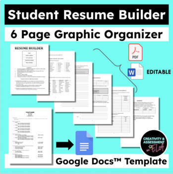 Student Resume Builder Graphic Organizer  Google Doc Resume