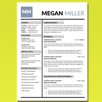 Creative Resume Template, Resume Editable, Resume Template for