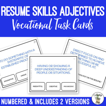 Resume Skills Adjectives Task Cards by Adulting Made Easy aka