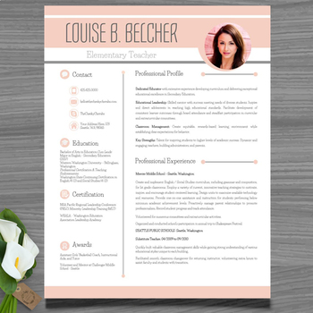 Resume Template + Cover and Reference Letter (Peach color - editable resume template