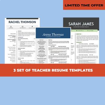 3 Resume Templates, Teacher Resume Bundle, Elementary CV Instant - resume templates teacher