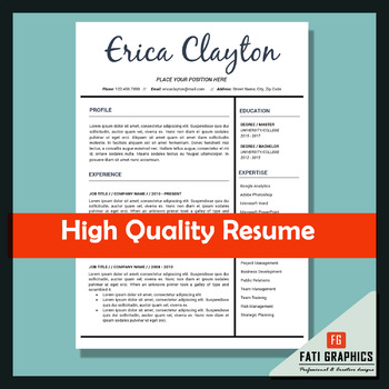 Resume Template for Teachers, MS Word Docx, CV Template, Instant