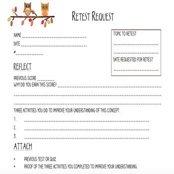 Retest Request Form by Tori Gorosave - A Middle School Teacher\u0027s Journey - request form