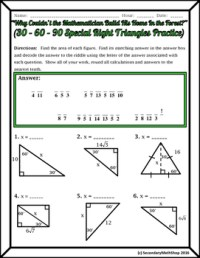 Right Triangles (Special)- 30 60 90 Riddle Practice ...