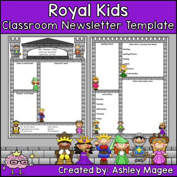 Royal Kids Editable Classroom Newsletter Template by Mrs Magee TpT - editable classroom newsletter