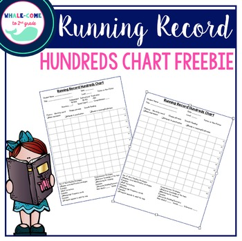 Running Record Hundreds Chart by Whale-come to Elementary TpT - hundreds chart