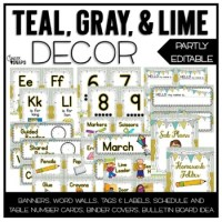 Rustic Chic Editable Classroom Decor {Teal, Gray, and Lime ...