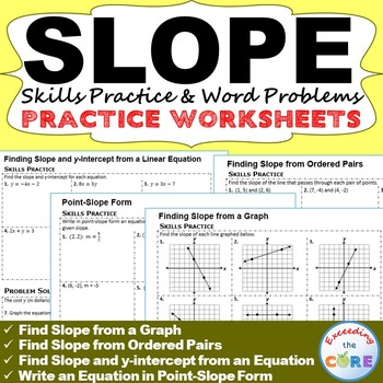 SLOPE  y-INTERCEPT Homework Worksheets Skills Practice  Word Problems