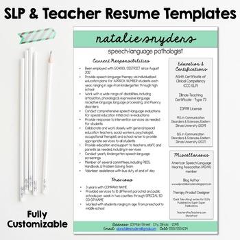 SLP  Teacher Resume and Cover Letter Templates - Fully Editable - teaching resume cover letter