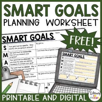 SMART Goals Student Planning Template by Literacy in Focus TpT
