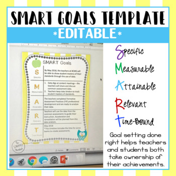 SMART Goals Template - Editable by The SPARKLY Notebook TpT