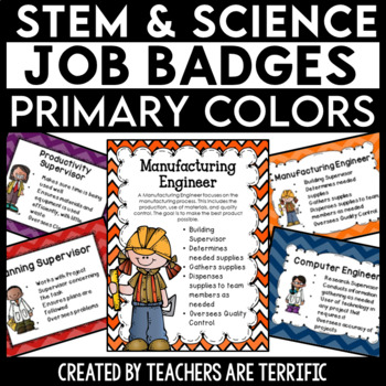 STEM and Science Job Badges and Posters in Primary Colors TpT