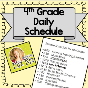 Sample Daily Schedule for 4th Grade by Miz Riz Elementary Resources
