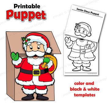 Santa Craft Printable Paper Bag Puppet Template by Dancing Crayon