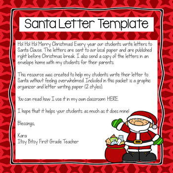 Santa Letter Template by Itsy Bitsy First Grade Teacher TpT