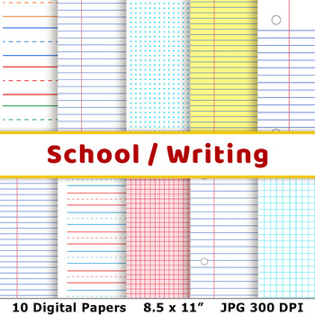 School Digital Papers, Preschool Writing Paper, Math Graph Paper - paper lined