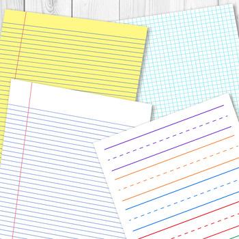School Digital Papers, Preschool Writing Paper, Math Graph Paper - digital graph paper