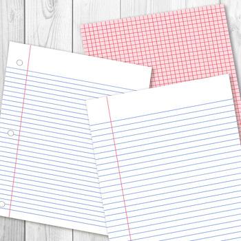 School Digital Papers, Preschool Writing Paper, Math Graph Paper