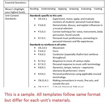 Patriotic Lesson Plan Template Bundle - Arkansas Elementary Music - sample unit lesson plan template