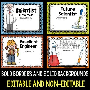 Science and STEM Award Certificates by Teachers Are Terrific TpT