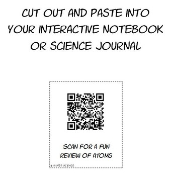 Science atoms atomic structure parts of an atom worksheet QR codes