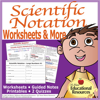 Scientific Notation - Worksheets, Guided Notes, Printables,  Quizzes - scientific notation worksheet