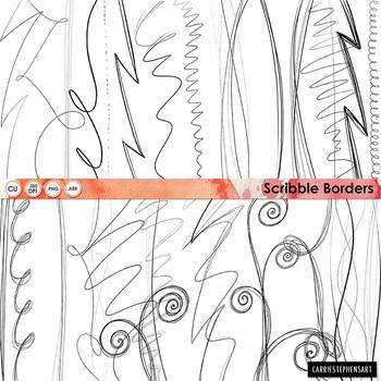 Scribble Border ClipArt, Digital Graphics, Swirl Page divider Borders