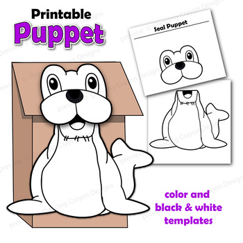 Seal Craft Activity Printable Paper Bag Puppet by Dancing Crayon